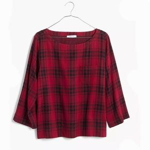 MADEWELL RED FLANNEL PLAID HERALD TEE SIZE S